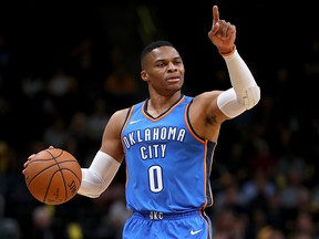 Russell Westbrook of the Oklahoma City Thunder brings the ball down the court against the Denver Nuggets at the Pepsi Center on October 10, 2017 in Denver. (Matthew Stockman/Getty Images)