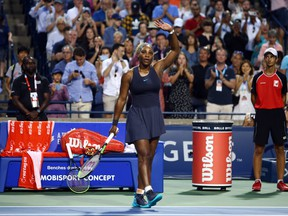 Serena Williams waves to the crowd after defeating Ekaterina Alexandrova following a third round match on Day 6 of the Rogers Cup at Aviva Centre on August 8, 2019 in Toronto. (Vaughn Ridley/Getty Images)