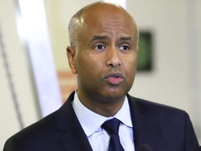 Ahmed Hussen, Minister of Immigration, Refugees and Citizenship Canada, addresses an audience at Cambrian College in Sudbury, Ont., on Jan. 24, 2019.
