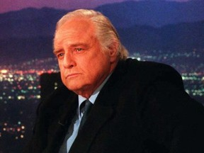 Actor Marlon Brando sits during a break 05 April during the CNN television show Larry King Live in Hollywood, California.