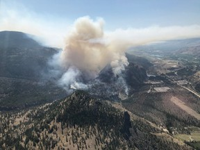 A view of the Eagle Bluff fire in British Columbia is shown in a handout photo. The BC Wildfire Service says a fire burning in British Columbia's southern Interior has doubled in size in barely 24 hours scorching about 2.5 square kilometres of timber and grasslands. THE CANADIAN PRESS/HO-BC Wildfire Service