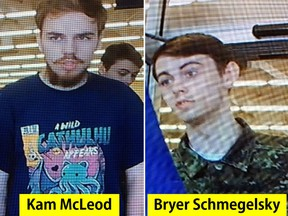 These images released by The Royal Canadian Mounted Police on July 23, 2019, shows Kam McLeod, 19, and Bryer Schmegelsky, 18, from Port Alberni, B.C..