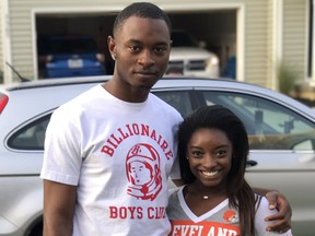 Simone Biles with her brother, Tevin Biles-Thomas.
