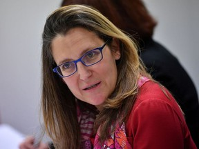 Canada's Foreign Minister Chrystia Freeland takes part in a bilateral meeting with U.S. Secretary of State Mike Pompeo at the Lappi Areena in Rovaniemi, Finland May 7, 2019.