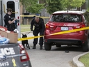 Toronto Police investigate the city's 37th murder of the year after one man was killed and another wounded in a shooting on Wakunda Pl. on Friday, Aug. 9, 2019. (Stan Behal/Toronto Sun/Postmedia Network)