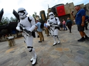 Storm Troopers on guard at the Star Wars: Galaxy's Edge Walt Disney World Resort on August 27, 2019 in Orlando. (Gerardo Mora/Getty Images)