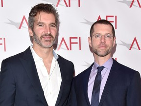 Writer/producers David Benioff, left, and D. B. Weiss attend the 17th annual AFI Awards at Four Seasons Los Angeles at Beverly Hills on Jan. 6, 2017 in Los Angeles.  (Alberto E. Rodriguez/Getty Images)