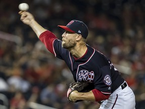 Hunter Strickland of the Washington Nationals pitches against the Milwaukee Brewers at Nationals Park on August 16, 2019 in Washington. (Scott Taetsch/Getty Images)