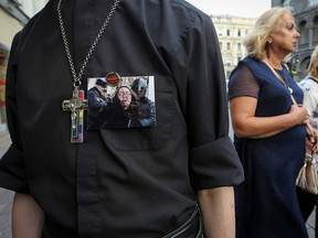 A supporter of LGBT community attends a rally after the murder of Elena Grigoryeva, activist for LGBT rights, in Saint Petersburg, Russia July 23, 2019. (REUTERS/Igor Russak)
