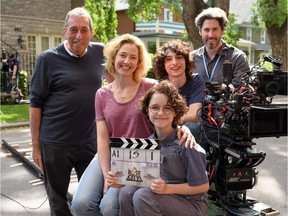 Ivan Reitman, Carrie Coon, Mckenna Grace, Finn Wolfhard and Jason Reitman on the Alberta set of Ghostbusters 2020. Jason Reitman released this photo earlier this week on his Twitter account.