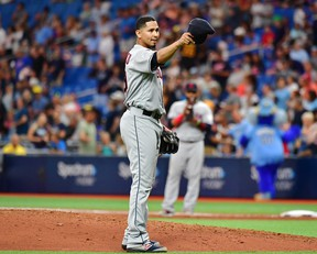 Carlos Carrasco of the Cleveland Indians tips hit hat to manager Terry Francona before the seventh inning during action against the Tampa Bay Rays at Tropicana Field on Sept. 1, 2019 in St. Petersburg, Fla. (Julio Aguilar/Getty Images)
