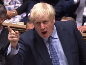A video grab from footage broadcast by the UK Parliament's Parliamentary Recording Unit (PRU) shows Britain's Prime Minister Boris Johnson speaking during his first Prime Ministers Questions session in the House of Commons in London on September 4, 2019. - Prime Minister Boris Johnson headed into a fresh Brexit showdown in parliament on Wednesday after being dealt a stinging defeat over his promise to get Britain out of the EU at any cost next month.