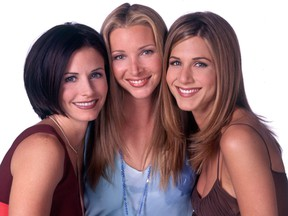 """""""Friends"""" stars Courteney Cox, left,  Lisa Kudrow, centre, and Jennifer Aniston are pictured in this file photo. (NBC)"""