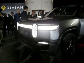 Interior of vehicle at Rivian Unveils First-Ever Electric Adventure Vehicle Before Its Official Reveal At The LA Auto Show at Griffith Observatory on November 26, 2018 in Los Angeles, California.