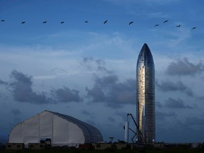 A prototype of SpaceX's Starship spacecraft is seen before SpaceX's Elon Musk gives an update on the company's Mars rocket Starship in Boca Chica, Texas, Sept. 28, 2019.