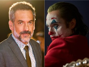 (Left) Todd Phillips attends the Joker premiere during the 2019 Toronto International Film Festival at Roy Thomson Hall on Sept. 9, 2019. On the right, Joaquin Phoenix in character as the Clown Prince of Crime in Joker. (Amy Sussman/Getty Images)