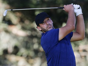 Tony Romo hits on the 11th hole during the first round of the Safeway Open at Silverado Resort on September 26, 2019 in Napa, California. (Jonathan Ferrey/Getty Images)