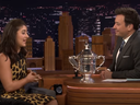 Canadian tennis U.S. Open champion Bianca Andreescu chats with comedian Jimmy Fallon. (The Tonight Show/Screengrab)