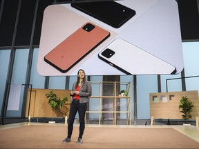 Sabrina Ellis, Google vice president of product management, introduces the new Google Pixel 4 smartphone during a Google launch event on Oct. 15, 2019 in New York City. (Drew Angerer/Getty Images)
