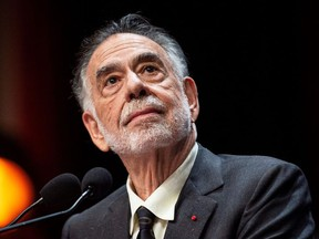 US movie director Francis Ford Coppola prepares to speak on stage after receiving the Lumiere Award during the 11th edition of the Lumiere Film Festival in Lyon, central eastern France, on October 18, 2019.