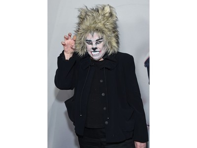 Actress Kathy Bates arrives dressed as a cat for the Red Carpet event celebrating 100 episodes of FX's
