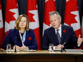 Bank of Canada governor Stephen Poloz and Senior Deputy Governor Carolyn Wilkins speak to reporters after announcing the latest rate decision in Ottawa, Oct. 30, 2019.