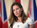 Foreign Minister Chrystia Freeland attends a news conference following a meeting with Britain's Foreign Secretary Dominic Raab in Toronto, on Aug. 6, 2019.
