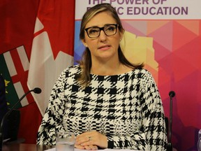 Lauren Walton, president of CUPE's Ontario School Board Council of Unions, announces Wednesday, Oct. 2, 2019 that 55,000 education workers will be in a strike position on Oct. 7.
