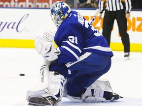 Maple Leafs goalie Frederik Andersen watches as the puck sails past him and into the net to give the Blues their second goal of the game in the second period, during NHL action at the Scotiabank Arena in Toronto on Monday, Oct. 7, 2019.