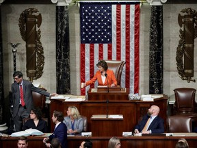 Speaker of the House Nancy Pelosi gavels the close of a vote by the U.S. House of Representatives on a resolution formalizing the impeachment inquiry centred on President Donald Trump, in Washington, D.C., on Thursday, Oct. 31, 2019.