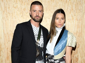 Justin Timberlake and Jessica Biel attend the Louis Vuitton Womenswear Spring/Summer 2020 show as part of Paris Fashion Week on Oct. 1, 2019 in Paris, France.