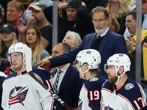 Columbus Blue Jackets coach John Tortorella directs his team during Game 5 of the Eastern Conference Second Round at TD Garden on May 4, 2019 in Boston. (Maddie Meyer/Getty Images)