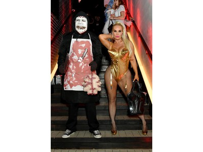 Ice-T, left, and Coco Austin attend Heidi Klum's 20th Annual Halloween Party presented by Amazon Prime Video and SVEDKA Vodka at Cathedrale New York on Oct. 31, 2019 in New York City.