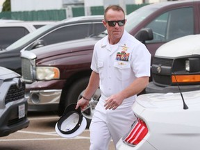 In this file photo taken on June 21, 2019 Navy Special Operations Chief Edward Gallagher walks into military court in San Diego, California.