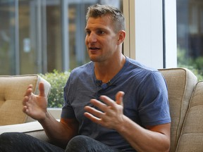 Former New England Patriots tight end Rob Gronkowski is interviewed in Toronto on Thursday, October 31, 2019. (Jack Boland/Toronto Sun)