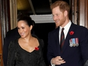 Britain's Prince Harry and Meghan, Duchess of Sussex, attend the annual Royal British Legion Festival of Remembrance at the Royal Albert Hall, London, England, on Nov. 9, 2019.