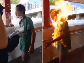 A Chinese man who apparently disagreed with pro-democracy protesters in Hong Kong was set on fire on Monday. (Twitter)