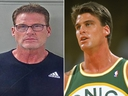 Jim Farmer is seen in his police mug shot (L) and in a 1990 file photo during a Seattle Supersonics game.