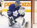 Toronto Maple Leafs Frederik Andersen makes a huge point blank save during the OT as the Las Vegas Knights were on the power play in Toronto on Thursday November 7, 2019. Jack Boland/Toronto Sun/Postmedia Network