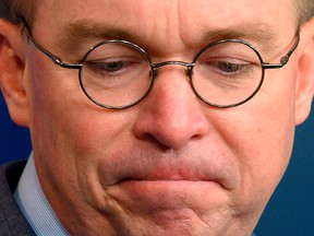 In this file photo taken on Oct. 17, 2019, White House acting chief of staff Mick Mulvaney speaks during a press briefing at the White House in Washington, D.C.