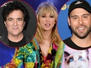 Taylor Swift, centre, and Scott Borchetta, left, and Scooter Braun, right. (Getty Images file photos)