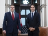 CP-Web. Prime Minister Justin Trudeau meets with Premier of Saskatchewan Scott Moe in his office on Parliament Hill in Ottawa, on Tuesday, Nov. 12, 2019. THE CANADIAN PRESS/Justin Tang ORG XMIT: JDT112