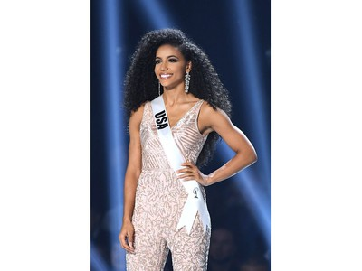 Miss USA Cheslie Kryst appears onstage at the 2019 Miss Universe Pageant at Tyler Perry Studios in Atlanta, Ga., on Dec. 8, 2019.