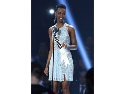 Miss South Africa Zozibini Tunzi speaks onstage at the 2019 Miss Universe Pageant at Tyler Perry Studios in Atlanta, Ga., on Dec. 8, 2019.