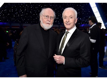"(L-R) Composer John Williams and Anthony Daniels attends the world premiere of ""Star Wars: The Rise of Skywalker,"" the highly anticipated conclusion of the Skywalker saga on Dec. 16, 2019 in Hollywood, Calif."