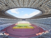 This picture taken on November 13, 2019 shows the new 1.4 billion USD main venue for the 2020 Tokyo Olympic Games in Tokyo. - Construction of the main Tokyo Olympic venue has officially completed, constructors said on November 30, and is set to fight excessive heat with a nature-inspired design. (Photo by STR / JIJI PRESS / AFP) / Japan OUT (Photo by STR/JIJI PRESS/AFP via Getty Images)