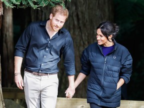 Prince Harry, Duke of Sussex and Meghan, Duchess of Sussex visits Rotorua's Redwoods Treewalk on Oct. 31, 2018 in Rotorua, New Zealand. (Chris Jackson/Getty Images)