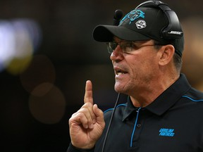 Head coach Ron Rivera of the Carolina Panthers reacts against the New Orleans Saints during the first quarter in the game at Mercedes Benz Superdome on Nov. 24, 2019 in New Orleans, La. (Sean Gardner/Getty Images)