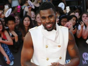Jason Derulo arrives on the red carpet at the Much Music Video Awards  in Toronto, Ont. on Tuesday June 16, 2015.