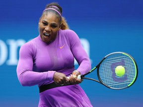 Serena Williams returns a shot against Bianca Andreescu at the U.S. Open on September 7, 2019 in New York City. (Elsa/Getty Images)